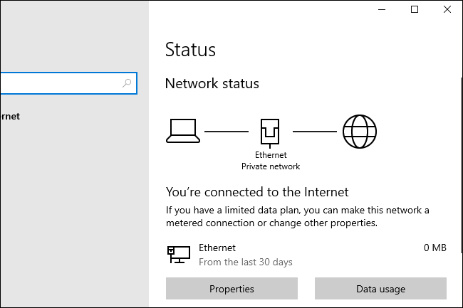 Windows 10 20H1's new network status options.