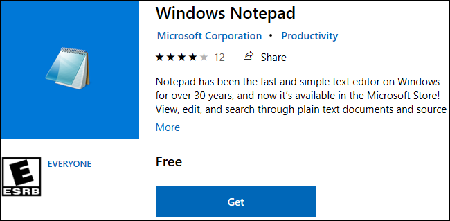 Windows Notepad available for download in the Windows 10 Store.