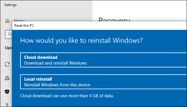 The Cloud Download option for resetting (or reinstalling) Windows 10.