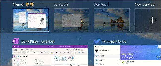 Renaming a virtual desktop (with emoji) on Windows 10.