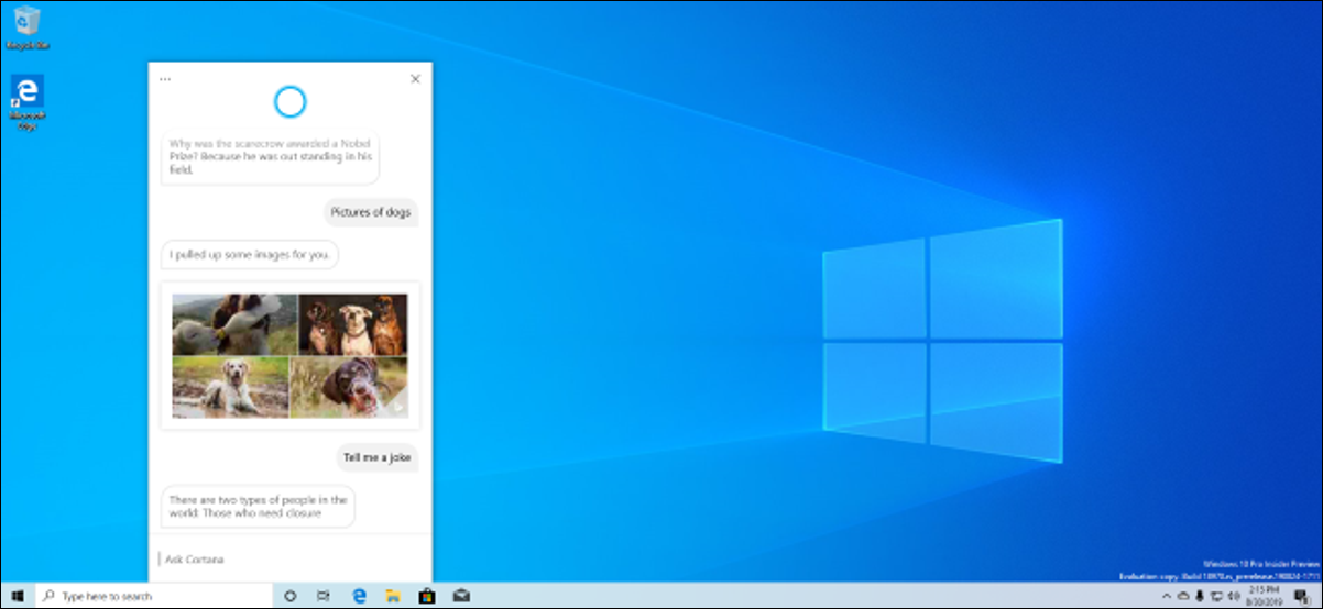 A Windows 10 May 2020 Update (version 2004) desktop with the new Cortana experience.