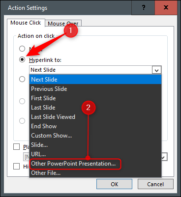 """Select the radio button next to """"Hyperlink to,"""" open the drop-down menu, and then select """"Other PowerPoint Presentation."""""""