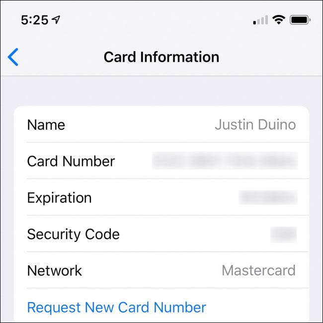 iPhone Apple Card Number