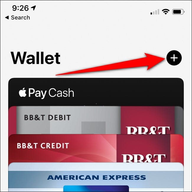 iPhone Apple Wallet Add Card Button