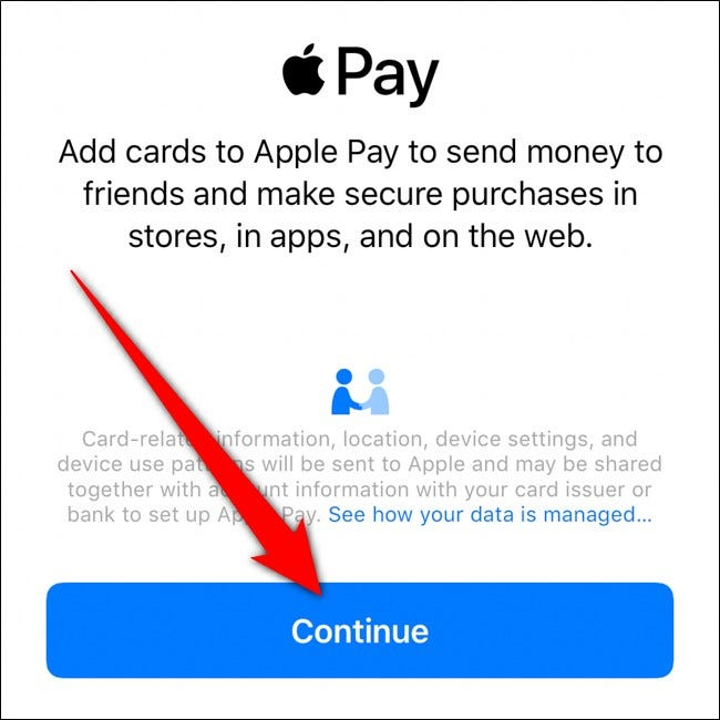 iPhone Apple Wallet Tap Continue