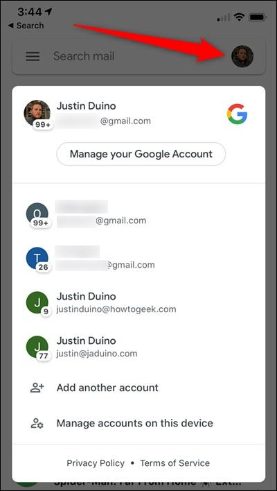 iPhone Gmail Tap Avatar Account Switcher