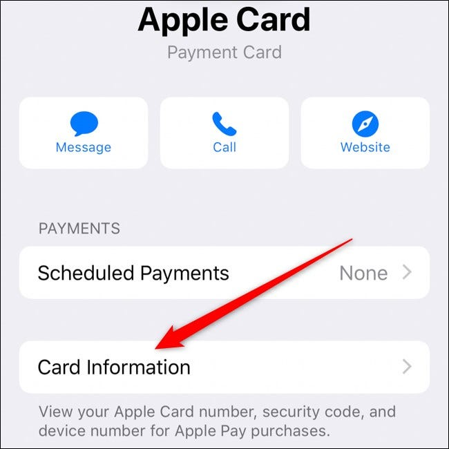 iPhone Select Apple Card Information