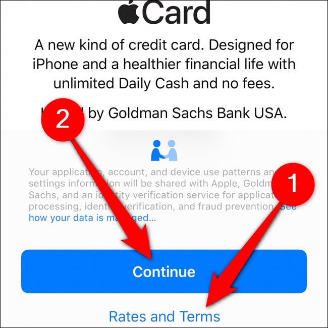 iPhone Wallet Apple Card Read Terms Tap Continue