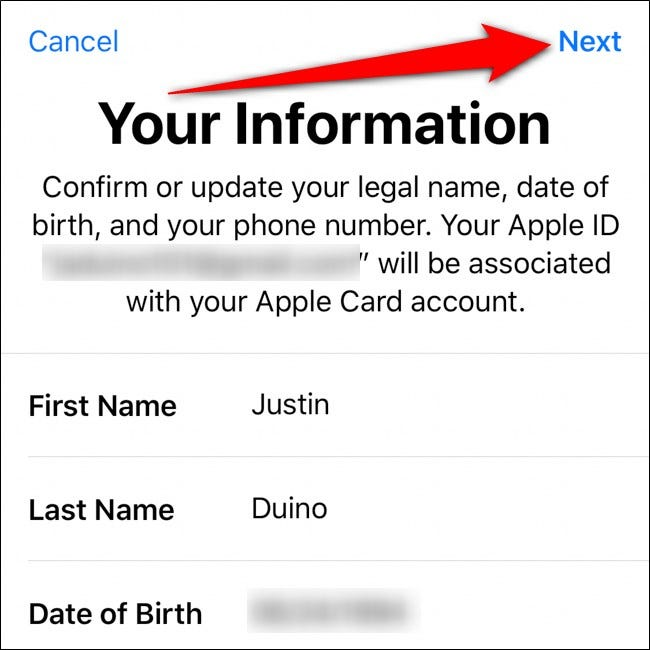 iPhone Wallet Confirm Your Information Tap Next