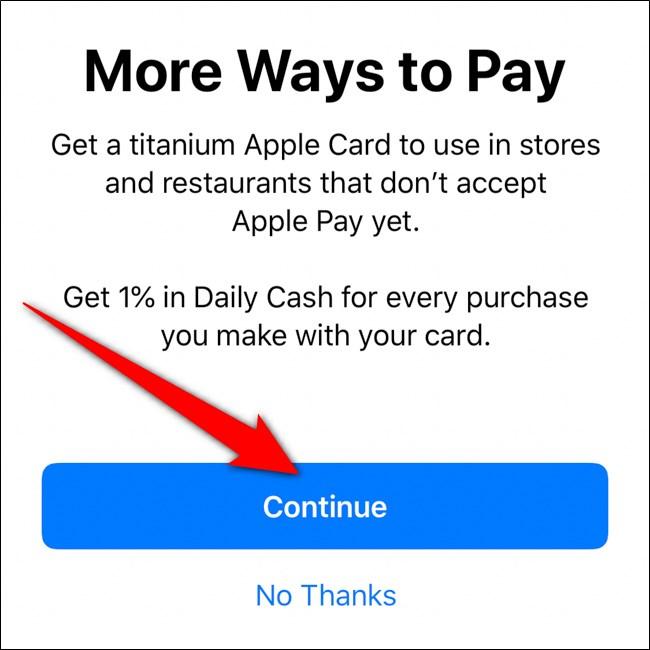 iPhone Wallet Order Titanium Apple Card Click Continue