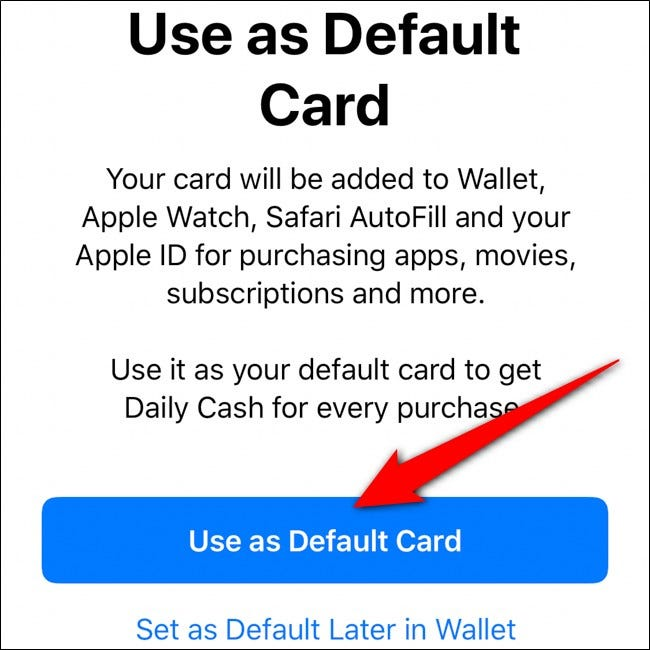 iPhone Wallet Use Apple Card as Default