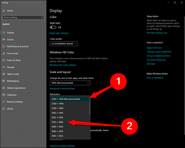 Microsoft Windows 10 Change Resolution