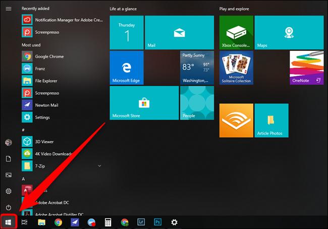 Microsoft Windows 10 Start Menu Button