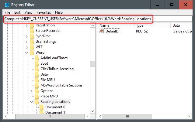 "The ""Registry Editor"" menu in Windows."