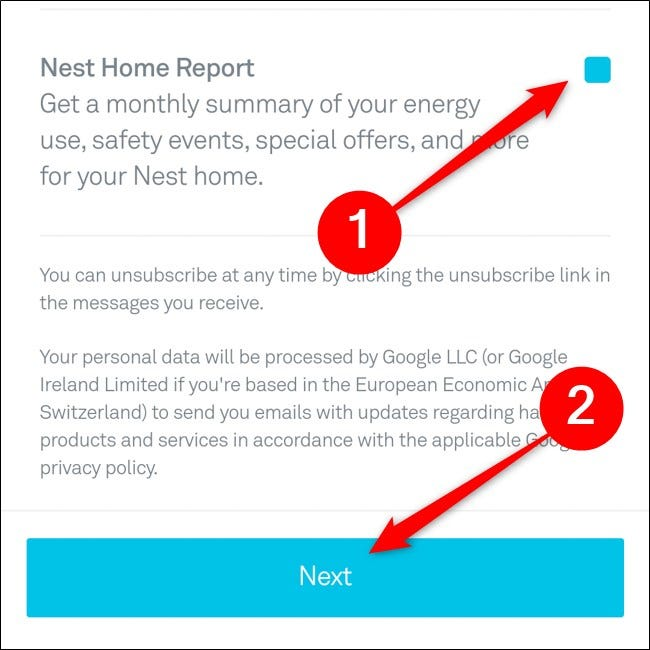 Nest App Select Emails to Receive Click Next