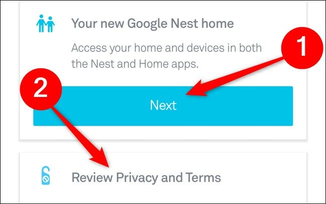 Nest App Select Your House and Review Privacy and Terms Click Next