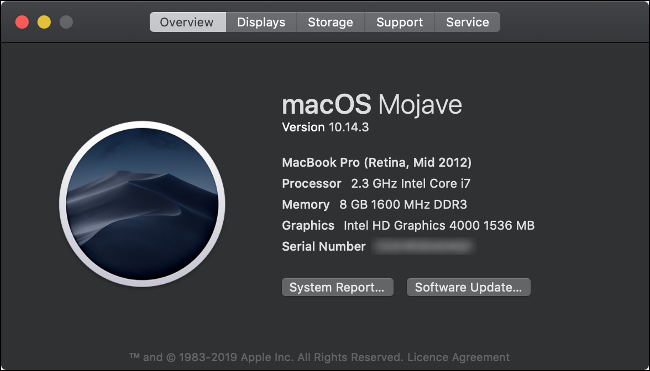 About This Mac Overview for a 2012 MacBook Pro.