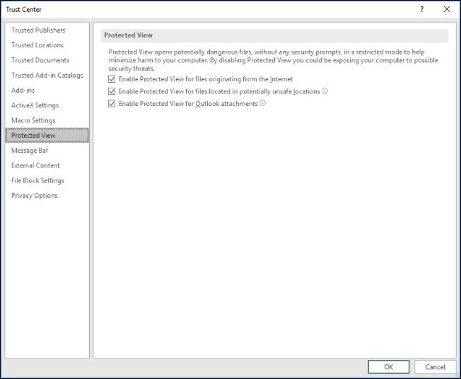 Configuración de Vista protegida de Excel