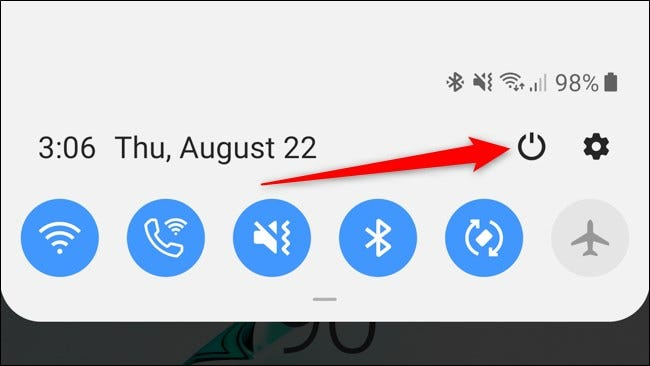 Samsung Galaxy Note 10 Plus Notification Shade Power Button