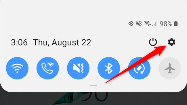 Samsung Galaxy Note 10 Plus Notification Shade Settings Icon