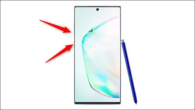 Samsung Galaxy Note 10 and 10 Plus Press Power and Volume Down Buttons