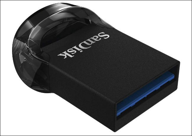 A SanDisk Ultra Fit low profile USB drive.