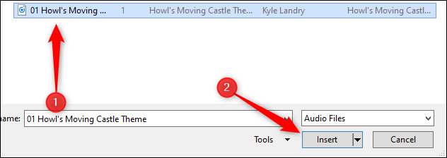 select MP3 to insert in PowerPoint