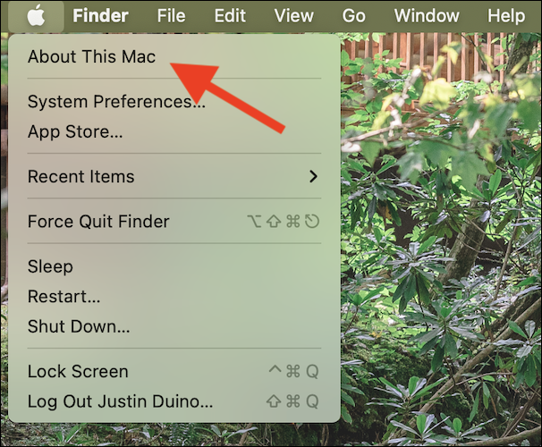 """Select """"About This Mac"""" from the drop-down context menu"""