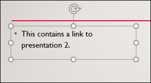 A selected text box in PowerPoint.