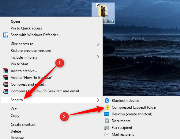 send to compressed zip folder