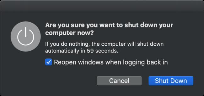 macOS Shut Down Dialog