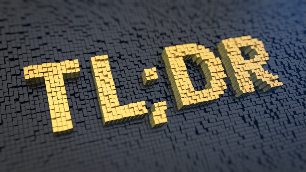 The word TL;DR in big yellow letters against a black background