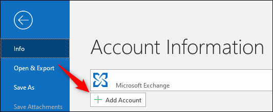 "Outlook's ""Add Account"" button."