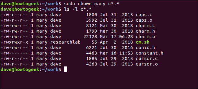 ls -l mary c*.* in a terminal window