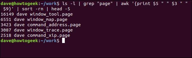 Five largest .page files listed in reverse size order in a terminal window