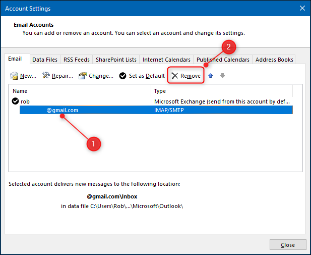 "The ""Account Settings"" panel with the Remove button highlighted."