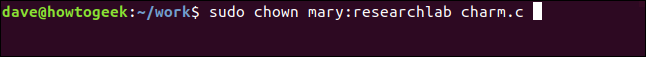 sudo chown mary: researchlab charm.c in a terminal window