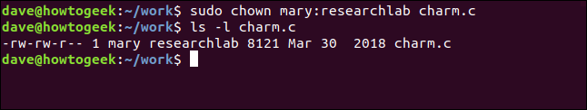 ls -l charm.c in a terminal window