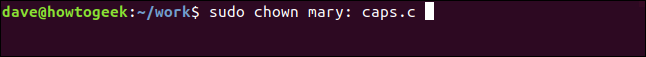 sudo chown mary: caps.c in a terminal window