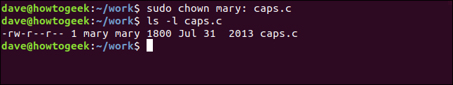 ls -l caps.c in a terminal window