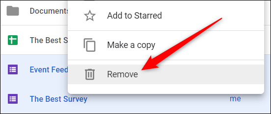 "Select a file, right-click it, and then click ""Remove"" to delete it"