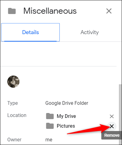 "Under ""Location,"" click the ""X"" next to the folder where the file is linked to."