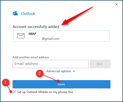 "Outlook's ""account added"" page."