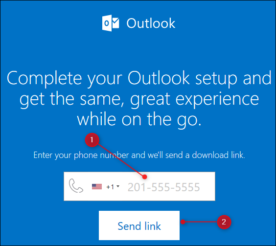 The Outlook web page that sends a link to the Outlook mobile app.