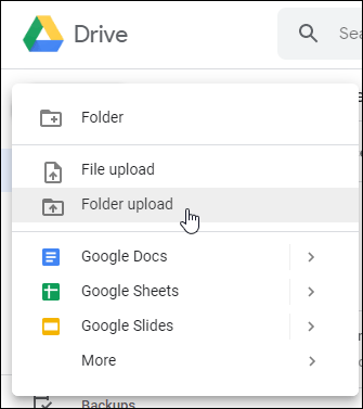 Google Drive Web File or Folder Upload Options