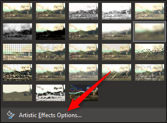 "Select ""Artistic Effects Options."""
