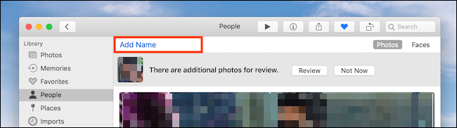 Click on Add Name in Photos app on Mac