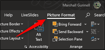 The Picture Format tab in PowerPoint.