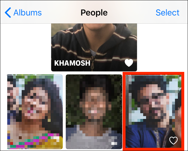 Select a face from the People album