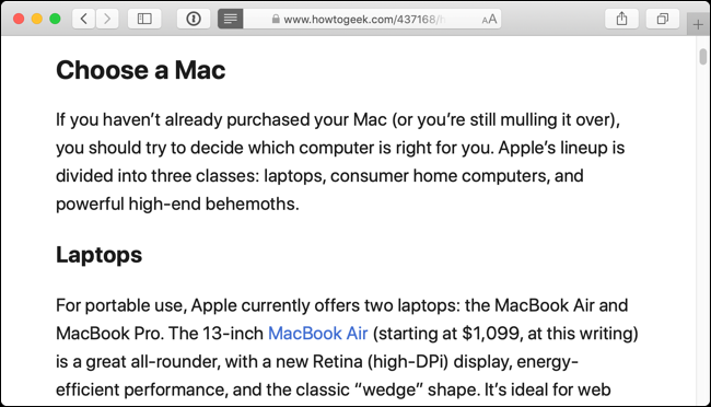 This is what the web page looks like in Reader View in Safari
